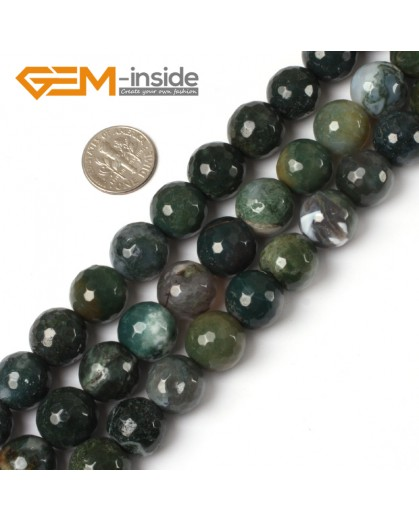 "G5460 14mm Natural Round Faceted Green Moss Agate Gemstone DIY Jewelry Making Beads Strand 15"" Natural Stone Beads for Jewelry Making Wholesale"