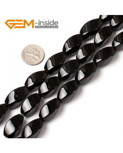 "G5480 12x20mm Egg Twist Natural Black Agate Stone Beads Gemstone 15"" Free Shipping Natural Stone Beads for Jewelry Making Wholesale"