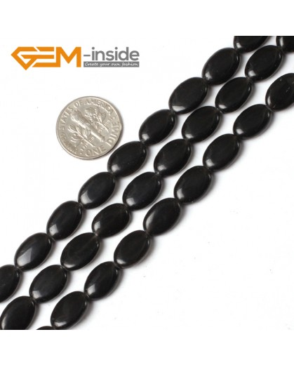 "G5485 8X12mm Natural Oval Black Agate Onyx Gemstone Loose Beads 15"" Jewelry Making Beads Natural Stone Beads for Jewelry Making Wholesale"