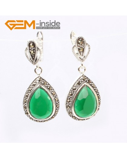 G5862 Faceted dyed green jade G-Beads Fashion Drip Gemstone Marcasite Silver Dangle Stud Hoop Earrings 15x20mm Ladies Birthstone Earrings Fashion Jewelry Jewellery