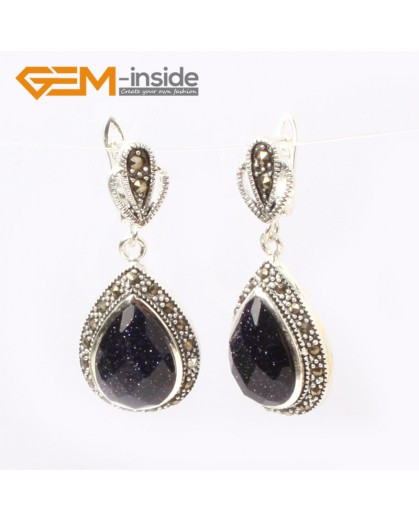G5869 Faceted blue sandstone G-Beads Fashion Drip Gemstone Marcasite Silver Dangle Stud Hoop Earrings 15x20mm Ladies Birthstone Earrings Fashion Jewelry Jewellery