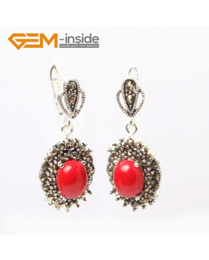 G5870 Man-made red coral G-Beads Fashion oval beads Marcasite silver dangle stud hoop earring  Ladies Birthstone Earrings Fashion Jewelry Jewellery