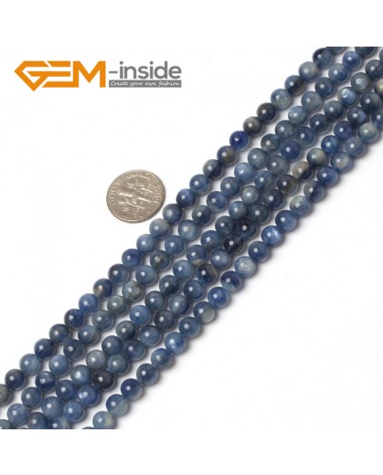 "G5993 6mm Round Gemstone Natural Blue Kyanite Stone Beads Strand 15"" Natural Stone Beads for Jewelry Making Wholesale"