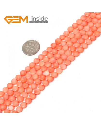 "G5996 pink 6mm coin coral gemstone beads strand 15"" Natural Stone Beads for Jewelry Making Wholesale"
