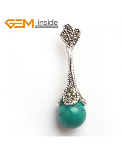 G6070 old turquoise fashion12mm round colorful beads Marcasite silver pendant FREE gift box +chain Pendants Fashion Jewelry Jewellery