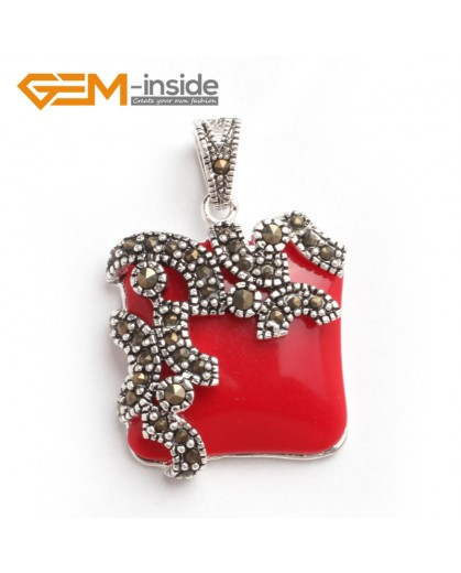 G6088 man-made red coral FASHION square beads Marcasite silver pendant 21x33mm FREE gift box +chain Pendants Fashion Jewelry Jewellery