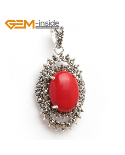 G6097 man-made red coral oval beads Marcasite silver pendant 20x40mm 1 pcs FREE gift box +chain Pendants Fashion Jewelry Jewellery
