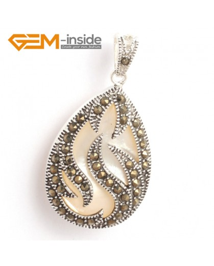 G6307 white shell New 20x39mm drop marcasite silver pendant FREE gift box + necklace chain Pendants Fashion Jewelry Jewellery