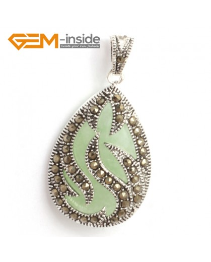 G6308 green aventurine New 20x39mm drop marcasite silver pendant FREE gift box +necklace chain Pendants Fashion Jewelry Jewellery