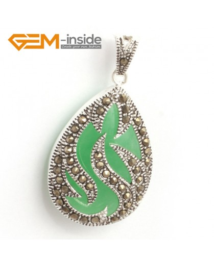 G6309 dyed green jade New 20x39mm drop marcasite silver pendant FREE gift box +necklace chain Pendants Fashion Jewelry Jewellery