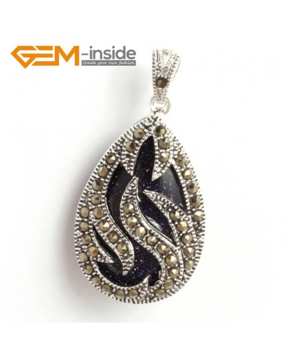 G6310 blue sandstone New 20x39mm drop marcasite silver pendant FREE gift box +necklace chain Pendants Fashion Jewelry Jewellery
