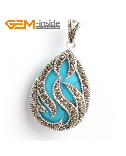 G6311 blue turquoise New 20x39mm drop marcasite silver pendant FREE gift box +necklace chain Pendants Fashion Jewelry Jewellery