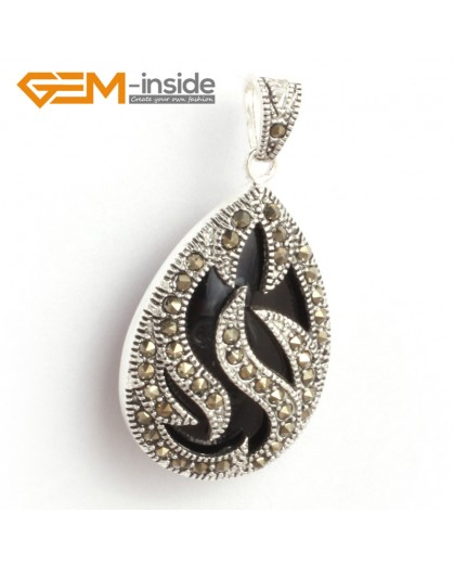 G6312 black agate New 20x39mm drop marcasite silver pendant FREE gift box +necklace chain Pendants Fashion Jewelry Jewellery