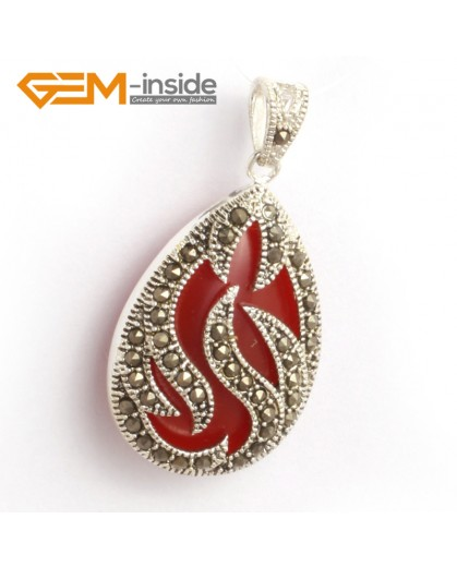 G6313 red agate New 20x39mm drop marcasite silver pendant FREE gift box +necklace chain Pendants Fashion Jewelry Jewellery