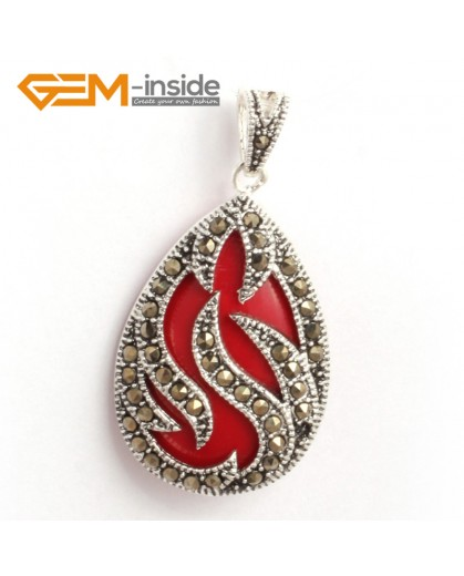 G6314 man-made  red coral New 20x39mm drop marcasite silver pendant FREE gift box +necklace chain Pendants Fashion Jewelry Jewellery