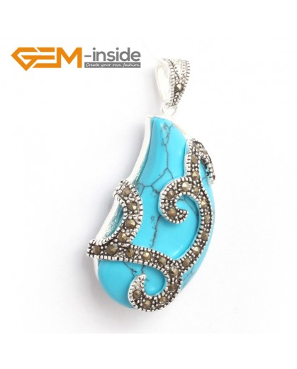 G6320 21x41mm Dyed Blue Turquoise Bead Marcasite Silver Necklace Pendants Fashion Jewelry Jewellery for Women 1 Pcs