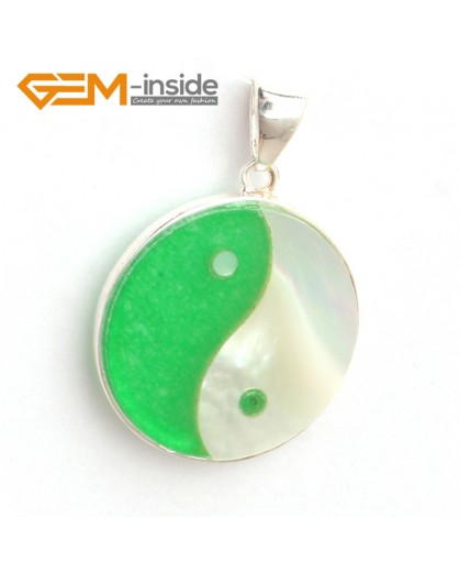 G6324 21x28mm white black shell yingyang fengshui silver pendant FREE box + necklace chain Pendants Fashion Jewelry Jewellery