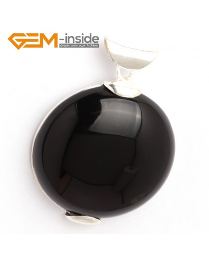 G6326 black agate Fashion pertty coin silver pendant 40x53mm FREE gift box +necklacechain Pendants Fashion Jewelry Jewellery