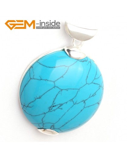 G6328 blue turquoise Fashion pertty coin silver pendant 40x53mm FREE gift box +necklacechain Pendants Fashion Jewelry Jewellery
