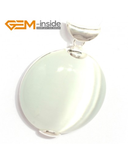 G6330 white cat eye Fashion pertty coin silver pendant 40x53mm FREE gift box +necklacechain Pendants Fashion Jewelry Jewellery