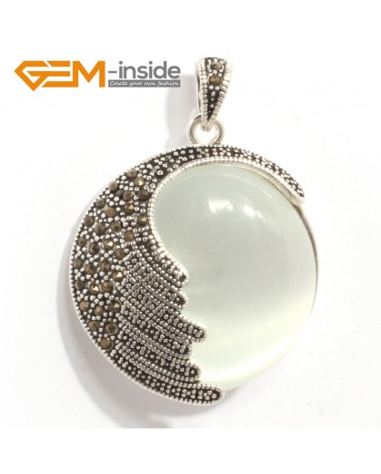 G6331 white cat eye Fashion coin marcasite silver pendant 36x47mm FREE gift box +necklace chain Pendants Fashion Jewelry Jewellery