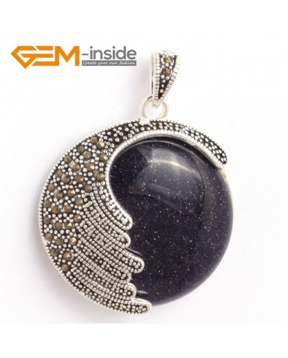 G6332 blue sandstone Fashion coin bead marcasite silver pendant 36x47mm FREE gift box +necklace chain Pendants Fashion Jewelry Jewellery
