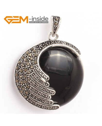 G6333 black agate Fashion coin marcasite silver pendant 36x47mm FREE gift box +necklace chain Pendants Fashion Jewelry Jewellery