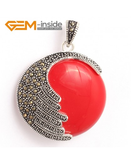 G6334 man-made  red coral  Fashion coin marcasite silver pendant 36x47mm FREE gift box +necklace chain Pendants Fashion Jewelry Jewellery