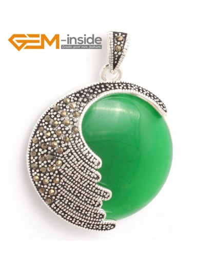 G6335 dyed green jade Fashion coin marcasite silver pendant 36x47mm FREE gift box +necklace chain Pendants Fashion Jewelry Jewellery