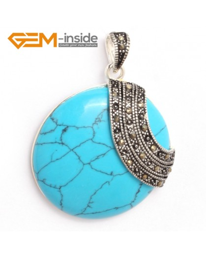G6337 blue turquoise pretty 36mm coin silver pendant 37mmx49mm FREE gift box +necklace chain Pendants Fashion Jewelry Jewellery