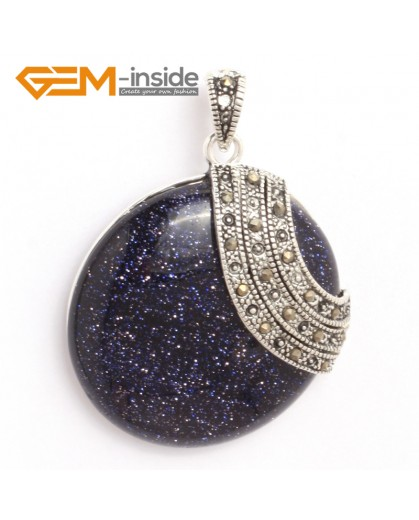 G6338 blue sandstone pretty 36mm coin silver pendant 37mmx49mm FREE gift box +necklace chain Pendants Fashion Jewelry Jewellery