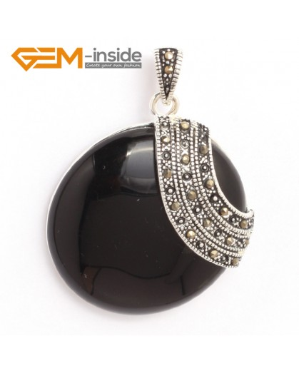 G6339 black agate pretty 36mm coin silver pendant 37mmx49mm FREE gift box +necklace chain Pendants Fashion Jewelry Jewellery