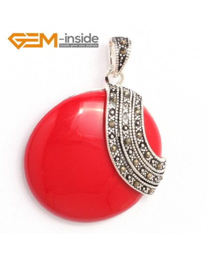 G6340 man-made  red coral pretty 36mm coin silver pendant 37mmx49mm FREE gift box +necklace chain Pendants Fashion Jewelry Jewellery