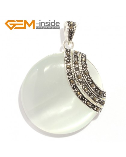 G6341 white cat eye pretty 36mm coin silver pendant 37mmx49mm FREE gift box +necklace chain Pendants Fashion Jewelry Jewellery