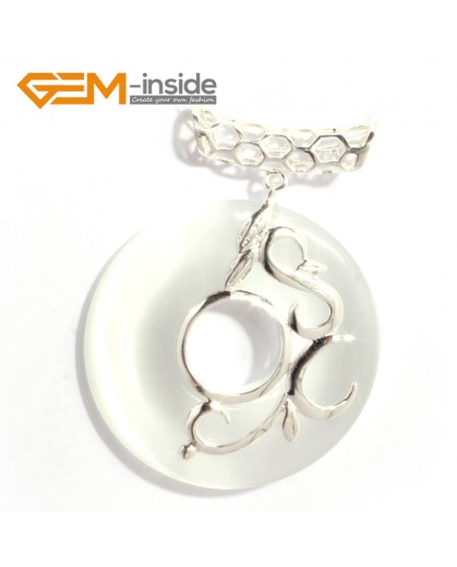 G6342 white cat eye Fashion new 37mm ring Loop silver pendant 37mmx49mm 1 pcs FREE gift box +chain Pendants Fashion Jewelry Jewellery