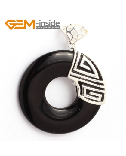 G6346 black agate fashion silver Loop pendant 40x51mm FREE box +chain Pendants Fashion Jewelry Jewellery