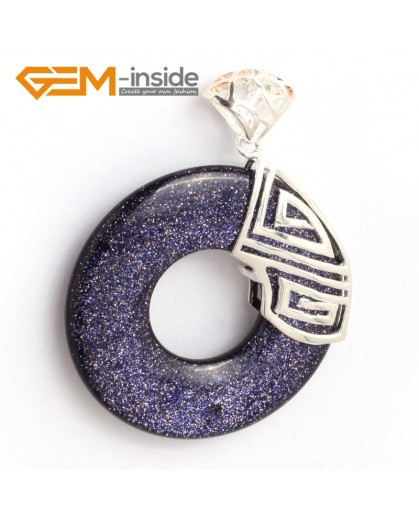 G6347 blue sandstone fashion silver Loop pendant 40x51mm FREE box +chain Pendants Fashion Jewelry Jewellery