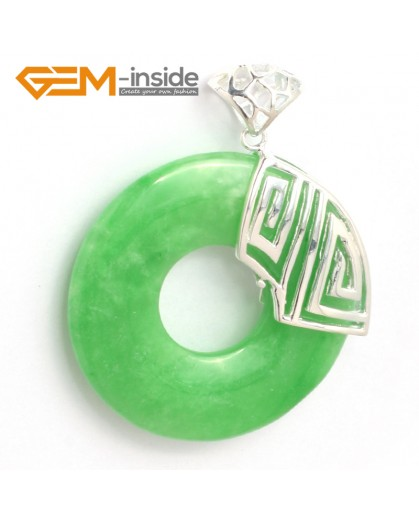 G6348 dyed green jade silver loop pendant 40x51mm FREE box +chain Pendants Fashion Jewelry Jewellery