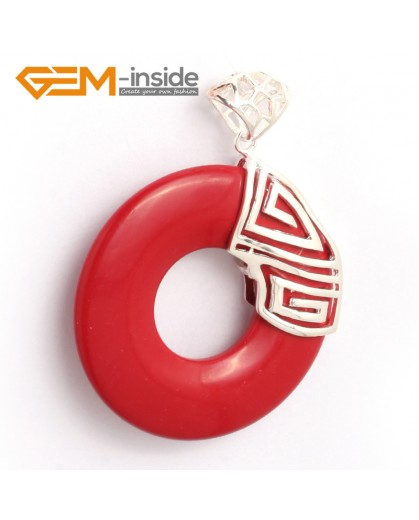 G6349 man-made  red coral loop silver pendant 40x51mm FREE box +chain Pendants Fashion Jewelry Jewellery