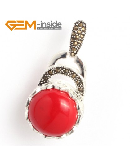 G6355 man-made  red coral colorful coin marcasite silver pendant 18.5mm x41mm FREE gift box +chain Pendants Fashion Jewelry Jewellery