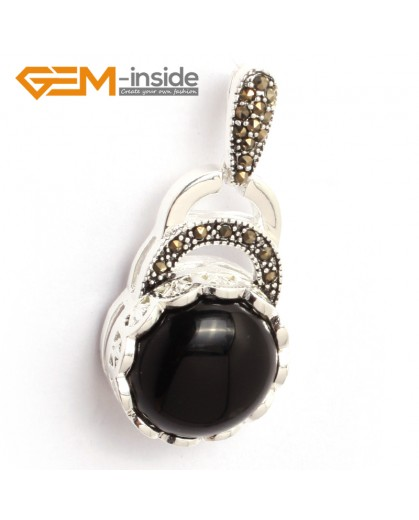 G6356 black agate colorful coin marcasite silver pendant 18.5mm x41mm FREE gift box +chain Pendants Fashion Jewelry Jewellery