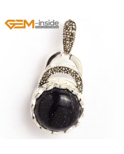 G6357 blue sandstone colorful coin marcasite silver pendant 18.5mm x41mm FREE gift box +chain Pendants Fashion Jewelry Jewellery