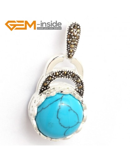 G6359 blue turquoise colorful coin marcasite silver pendant 18.5mm x41mm FREE gift box +chain Pendants Fashion Jewelry Jewellery