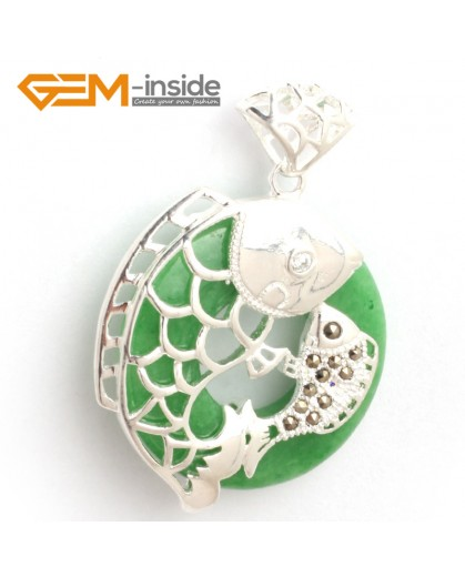 G6361dyed green jade new fashion colorful ring bead silver pendant 32x46mm FREE box +necklace chain Pendants Fashion Jewelry Jewellery