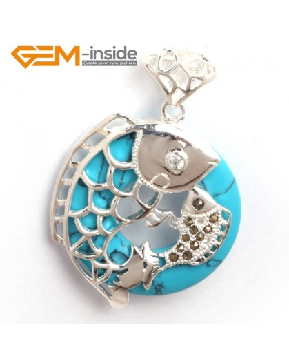 G6363 blue turquoise new fashion colorful ring silver pendant 32x46mm FREE box +necklace chain Pendants Fashion Jewelry Jewellery