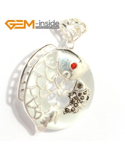 G6366 white cat eye new fashion colorful ring loop silver pendant 32x46mm FREE box +necklace chain Pendants Fashion Jewelry Jewellery