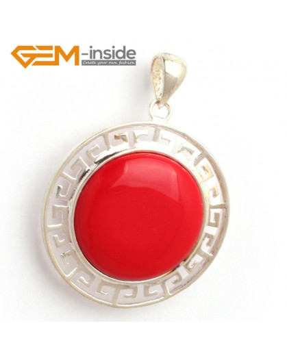 G6368 man-made  red coral NEW colorful 23mm coin beads silver pendant 35x45mm FREE box +necklace chain Pendants Fashion Jewelry Jewellery