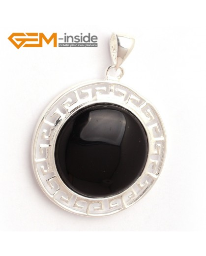G6369 black agate NEW colorful 23mm coin beads silver pendant 35x45mm FREE box +necklace chain Pendants Fashion Jewelry Jewellery