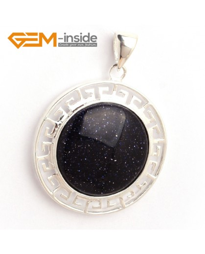 G6370 blue sandstone NEW colorful 23mm coin silver pendant 35x45mm FREE box +necklace chain Pendants Fashion Jewelry Jewellery