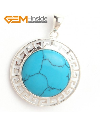 G6371 blue turquoise NEW colorful 23mm coin beads silver pendant 35x45mm FREE box +necklace chain Pendants Fashion Jewelry Jewellery